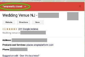 Google Maps business temporarily closed